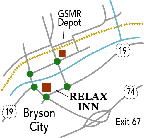 Map showing motel's proximity to train depot